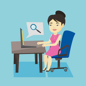 Young asian business woman working on her laptop in office and searching information on internet. Concept of internet search and job search. Vector flat design illustration. Square layout.