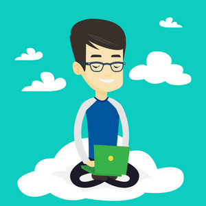 Young asian businessman sitting on a cloud with laptop. Man using cloud computing technology. Man working on computer. Concept of cloud computing. Vector flat design illustration. Square layout.