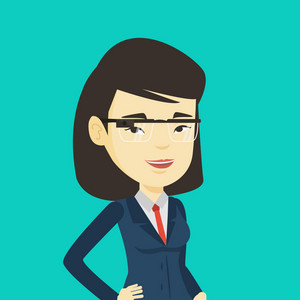 Young asian businesswoman in wearable computer. Woman wearing wearable computer with an optical head-mounted display. Woman using wearable computer. Vector flat design illustration. Square layout.