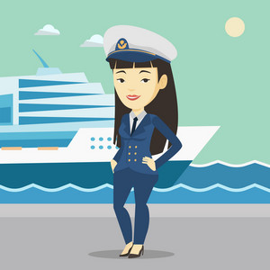 Young asian captain on the background of sea and cruise ship. Smiling ship captain in uniform on seacoast background. Ship captain standing at the port. Vector flat design illustration. Square layout.