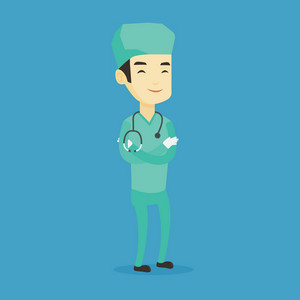 Young asian confident surgeon in medical uniform. Full length of surgeon standing with arms crossed. Happy surgeon with stethoscope on his neck. Vector flat design illustration. Square layout.