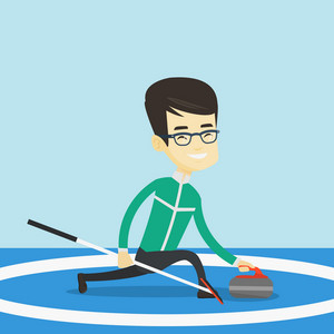 Young asian curling player with stone and broom exercising at rink. Smiling curling player delivering a stone. Curling player sliding over the ice. Vector flat design illustration. Square layout.