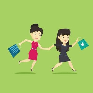 Young asian customers rushing to promotion and sale. People rushing on sale to the shop. Two cheerful women running in a hurry to the store on sale. Vector flat design illustration. Square layout.
