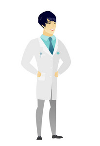 Young asian doctor in medical gown laughing. Doctor laughing with hands on his stomach. Doctor laughing with closed eyes and open mouth. Vector flat design illustration isolated on white background.