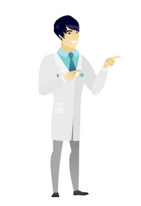 Young asian doctor in medical gown pointing to the side. Doctor pointing his finger to the side. Doctor pointing to the right side. Vector flat design illustration isolated on white background.