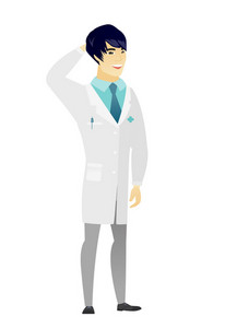 Young asian doctor in medical gown scratching his head. Full length of doctor touching his head. Happy doctor holding hand behind head. Vector flat design illustration isolated on white background.