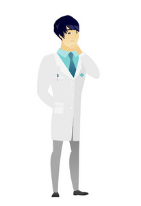 Young asian doctor in medical gown thinking. Full length of thinking doctor with hand on chin. Doctor thinking and looking to the side. Vector flat design illustration isolated on white background.