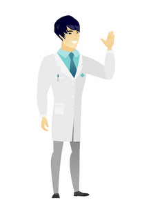 Young asian doctor in medical gown waving his hand. Full length of doctor waving his hand. Doctor making greeting gesture - waving hand. Vector flat design illustration isolated on white background.