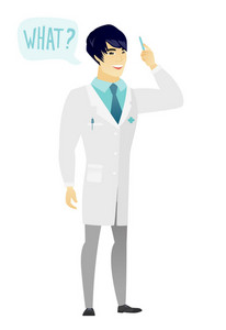 Young asian doctor in medical gown with question what in speech bubble. Full length of smiling doctor with text what in speech bubble. Vector flat design illustration isolated on white background.