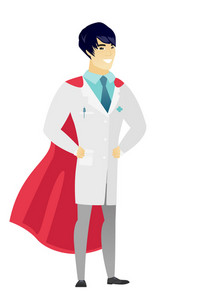 Young asian doctor wearing a red superhero cloak. Full length of doctor dressed as a superhero. Successful doctor superhero in red cloak. Vector flat design illustration isolated on white background.