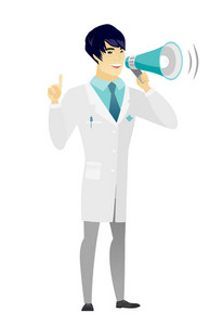 Young asian doctor with a megaphone making an announcement. Doctor making an announcement through a megaphone and pointing finger up. Vector flat design illustration isolated on white background.