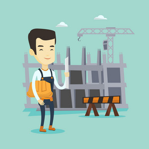 Young asian engineer standing with blueprint at construction site. Engineer holding hard hat and twisted blueprint. Engineer checking construction works. Vector flat design illustration. Square layout
