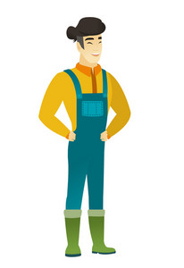 Young asian farmer in coveralls laughing. Farmer laughing with hands on his stomach. Farmer laughing with closed eyes and open mouth. Vector flat design illustration isolated on white background.