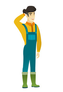 Young asian farmer in coveralls scratching his head. Full length of farmer touching his head. Happy farmer holding hand behind his head. Vector flat design illustration isolated on white background.