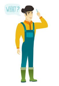 Young asian farmer in coveralls with question what in speech bubble. Full length of smiling farmer with text what in speech bubble. Vector flat design illustration isolated on white background.