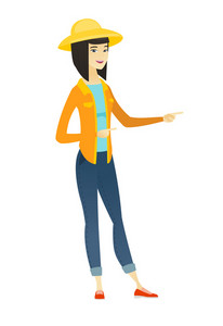 Young asian farmer in summer hat pointing to the side. Farmer pointing her finger to the side. Happy farmer pointing to the right side. Vector flat design illustration isolated on white background.