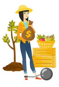 Young asian farmer showing bag with money for payment of taxes. Captive farmer holding a bag with taxes. Concept of tax time and taxpayer. Vector flat design illustration isolated on white background.