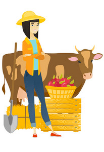 Young asian farmer standing on the background of cow, shovel, hay, crates and basket of apples. Farmer standing with crossed arms near cow. Vector flat design illustration isolated on white background