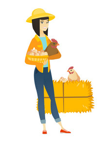 Young asian farmer standing with basket of hens eggs and chicken on the background of hay bale. Farmer holding chicken and basket of eggs. Vector flat design illustration isolated on white background.