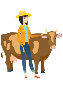 Young asian farmer stroking the cow. Female farmer in summer hat standing near the cow. Smiling cow breeder standing in front of the cow. Vector flat design illustration isolated on white background.