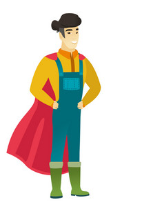 Young asian farmer wearing a red superhero cloak. Full length of farmer dressed as a superhero. Successful farmer superhero in red cloak. Vector flat design illustration isolated on white background.