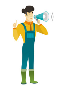 Young asian farmer with a megaphone making an announcement. Farmer making an announcement through a megaphone and pointing finger up. Vector flat design illustration isolated on white background.