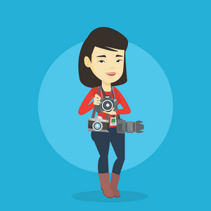 Young asian female photographer with many photo cameras equipment. Cheerful paparazzi with many cameras. Professional journalist with many cameras. Vector flat design illustration. Square layout.