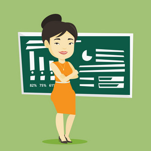Young asian female teacher standing in classroom. Smiling teacher standing in front of chalkboard. Friendly teacher standing with folded arms. Vector flat design illustration. Square layout.