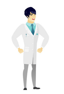 Young asian furious doctor in medical gown screaming. Full length of furious doctor shouting. Illustration of furious doctor yelling. Vector flat design illustration isolated on white background.