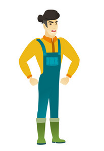 Young asian furious farmer in coveralls screaming. Full length of furious farmer shouting. Illustration of furious farmer yelling. Vector flat design illustration isolated on white background.