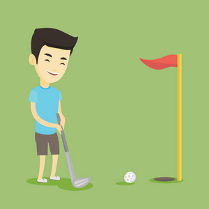 Young asian golfer playing golf. Golfer hitting the ball in the hole with red flag. Professional golfer on the golf course. Vector flat design illustration. Square layout.