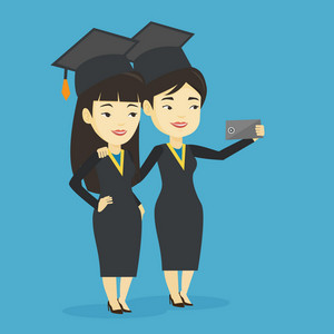 Young asian graduates making selfie. Cheerful graduates in cloaks and graduation caps making selfie. Happy graduates making selfie with cellphone. Vector flat design illustration. Square layout.