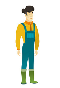 Young asian happy farmer in coveralls. Full length of smiling happy farmer posing. Illustration of happy farmer standing. Vector flat design illustration isolated on white background.