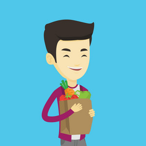 Young asian man carrying grocery shopping bag with vegetables. Man holding grocery shopping bag with healthy food. Man with grocery shopping bag. Vector flat design illustration. Square layout.