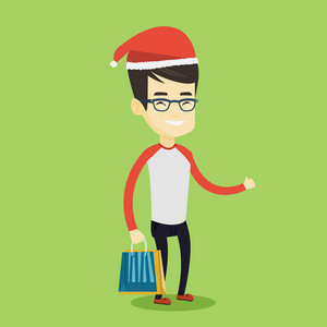 Young asian man carrying shopping bags with christmas gifts and giving thumb up. Man in santa hat holding shopping bags. Man buying christmas gifts. Vector flat design illustration. Square layout.