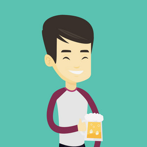 Young asian man celebrating with beer. Smiling man holding a big glass of beer. Full length of male beer fan. Man drinking beer at pub. Vector flat design illustration. Square layout.