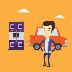 Young asian man charging electric car at charging station. Man standing near power supply for electric car. Charging of electric car. Vector flat design illustration. Square layout.