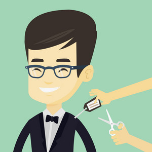 Young asian man cutting price tag off new clothes with scissors. Smiling man removing price tag off his new t-shirt. Happy man shopping at clothes store. Vector flat design illustration. Square layout