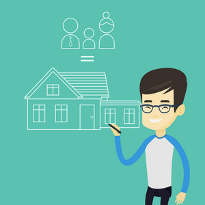 Young asian man drawing a family house. Smiling man drawing a house with a family. Happy man dreaming about future life in a new family house. Vector flat design illustration. Square layout.