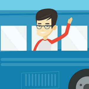 Young asian man enjoying his trip by bus. Happy passenger waving hand from bus window. Smiling tourist peeking out of bus window and waving his hand. Vector flat design illustration. Square layout.