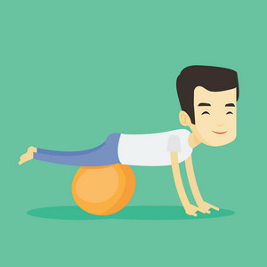 Young asian man exercising with fitball. Smiling man training triceps and biceps while doing push ups on fitball. Man doing exercises on fitball. Vector flat design illustration. Square layout.