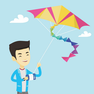 Young asian man flying a colourful kite. Smiling man controlling a kite. Happy man walking with a kite. Cheerful man playing with a kite. Vector flat design illustration. Square layout.