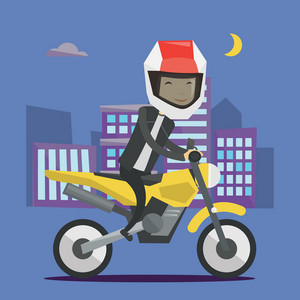 Young asian man in helmet riding a motorcycle on the background of night city. Man driving a motorcycle on city road. Man riding a motorcycle at night. Vector flat design illustration. Square layout.