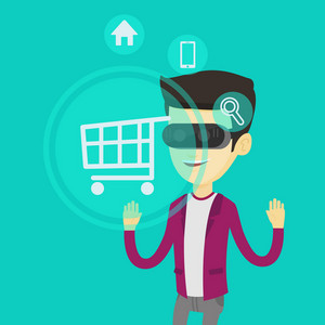 Young asian man in virtual reality headset looking at shopping cart icon. Happy man doing online shopping. Virtual reality and shopping online concept. Vector flat design illustration. Square layout.