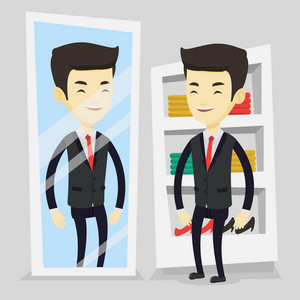 Young asian man looking at himself in a mirror in dressing room. Young man trying on suit in dressing room. Happy man choosing clothes in dressing room. Vector flat design illustration. Square layout.