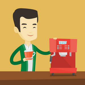 Young asian man making coffee with a coffee-machine. Man holding cup of hot flavoured coffee in hand. Smiling man standing beside a coffee machine. Vector flat design illustration. Square layout.