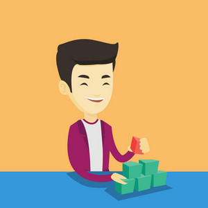 Young asian man making pyramid of network avatars. Smiling man building his social network. Networking and communication concept. Vector flat design illustration. Square layout.