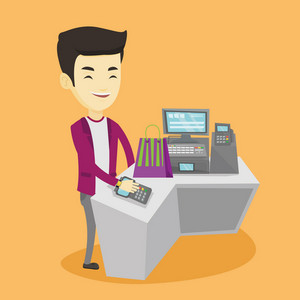 Young asian man paying wireless with his smart watch at the checkout counter. Customer making payment for purchase with smart watch. Man doing shopping. Vector flat design illustration. Square layout.