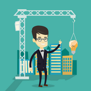 Young asian man pointing at idea light bulb hanging on crane. Architect having excellent idea in town planning. Concept of new ideas in architecture. Vector flat design illustration. Square layout.