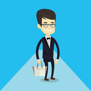 Young asian man posing on catwalk during fashion event. Male model walking on catwalk during fashion week. Man standing on catwalk during fashion show. Vector flat design illustration. Square layout.